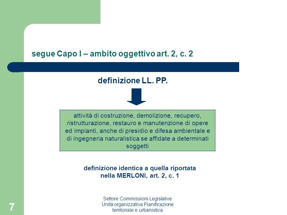 Settore Commissioni Legislative Unità organizzativa Pianificazione territoriale e urbanistica 7 segue Capo I – ambito oggettivo art. 2, c. 2 definizio