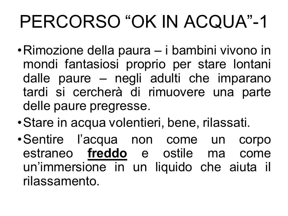 PERCORSO OK IN ACQUA-2 Padroneggiare il corpo in acqua, riuscire a muoversi e fermarsi quando e come si vuole, affondare se lo si vuole e galleggiare se lo si vuole.