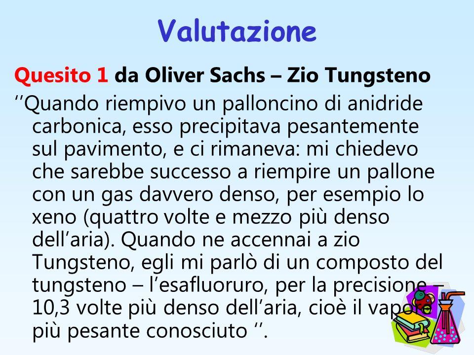 Valutazione Quesito 1 da Oliver Sachs – Zio Tungsteno Quando riempivo un palloncino di anidride carbonica, esso precipitava pesantemente sul pavimento