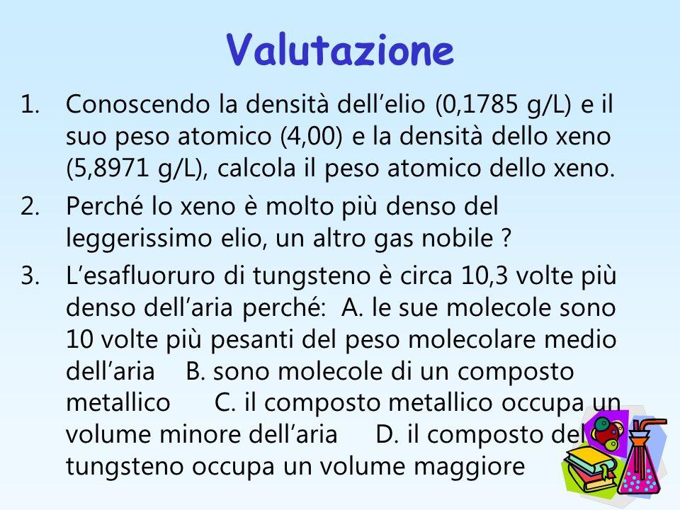 Valutazione 1.Conoscendo la densità dellelio (0,1785 g/L) e il suo peso atomico (4,00) e la densità dello xeno (5,8971 g/L), calcola il peso atomico d