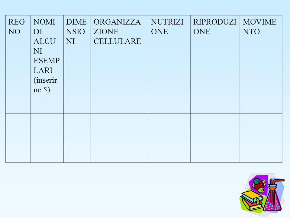 REG NO NOMI DI ALCU NI ESEMP LARI (inserir ne 5) DIME NSIO NI ORGANIZZA ZIONE CELLULARE NUTRIZI ONE RIPRODUZI ONE MOVIME NTO