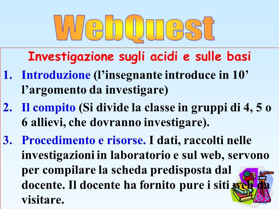 Investigazione sugli acidi e sulle basi 1.Introduzione (linsegnante introduce in 10 largomento da investigare) 2.Il compito (Si divide la classe in gr