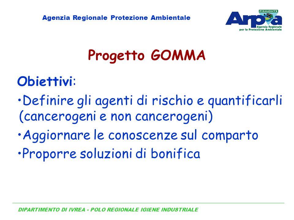 DIPARTIMENTO DI IVREA - POLO REGIONALE IGIENE INDUSTRIALE Agenzia Regionale Protezione Ambientale Progetto GOMMA Obiettivi: Definire gli agenti di ris
