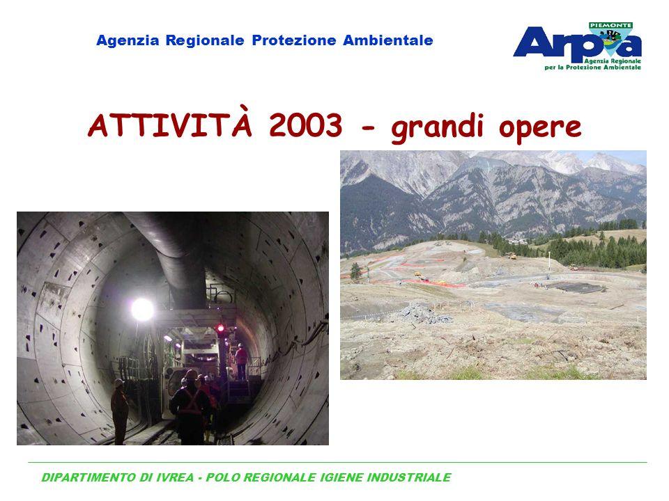 DIPARTIMENTO DI IVREA - POLO REGIONALE IGIENE INDUSTRIALE Agenzia Regionale Protezione Ambientale ATTIVITÀ 2003 - grandi opere