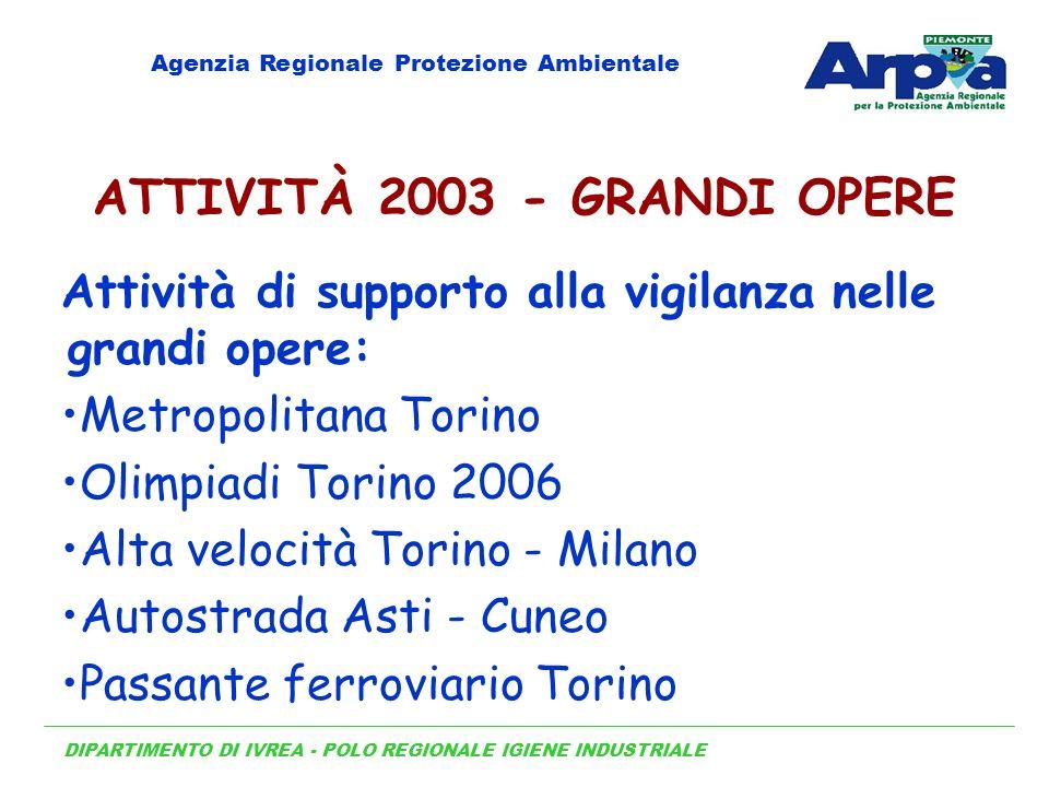 DIPARTIMENTO DI IVREA - POLO REGIONALE IGIENE INDUSTRIALE Agenzia Regionale Protezione Ambientale ATTIVITÀ 2003 - GRANDI OPERE Attività di supporto al