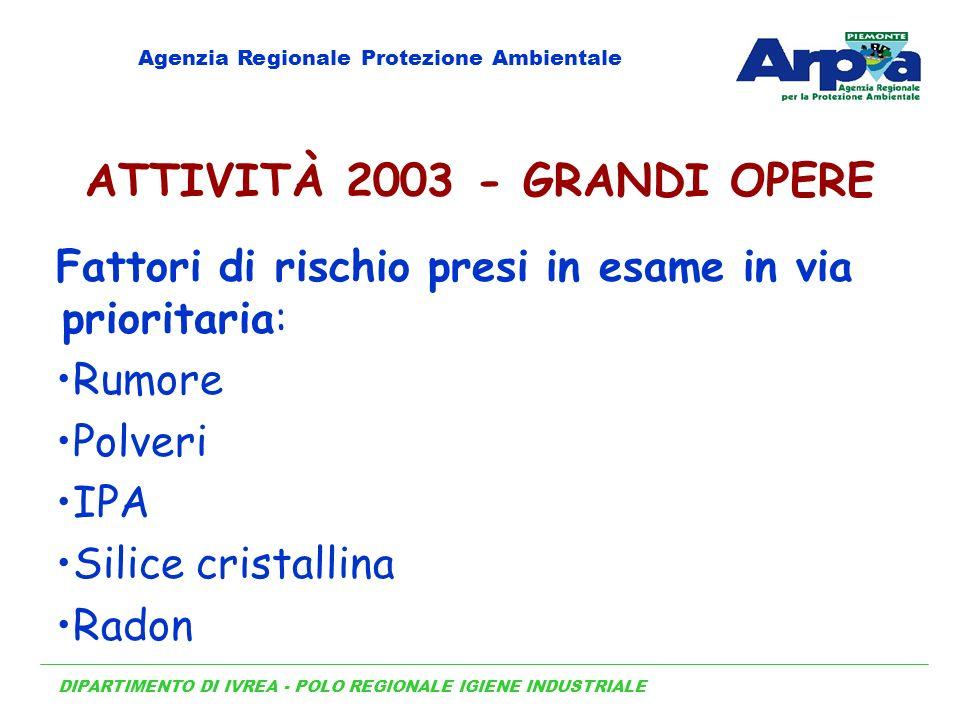 DIPARTIMENTO DI IVREA - POLO REGIONALE IGIENE INDUSTRIALE Agenzia Regionale Protezione Ambientale ATTIVITÀ 2003 - GRANDI OPERE Fattori di rischio pres