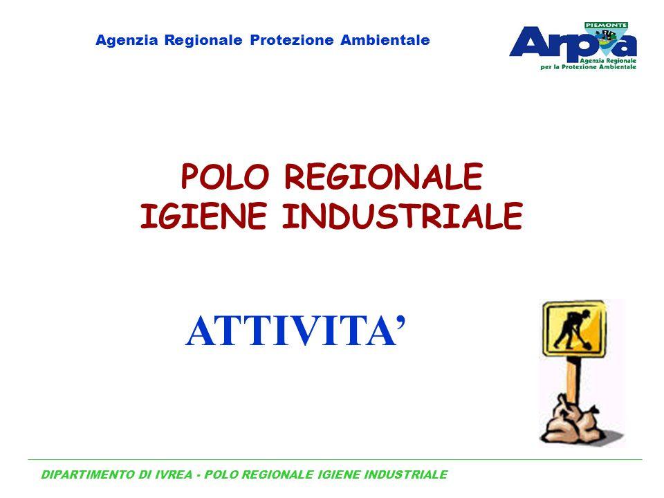 DIPARTIMENTO DI IVREA - POLO REGIONALE IGIENE INDUSTRIALE Agenzia Regionale Protezione Ambientale POLO REGIONALE IGIENE INDUSTRIALE ATTIVITA