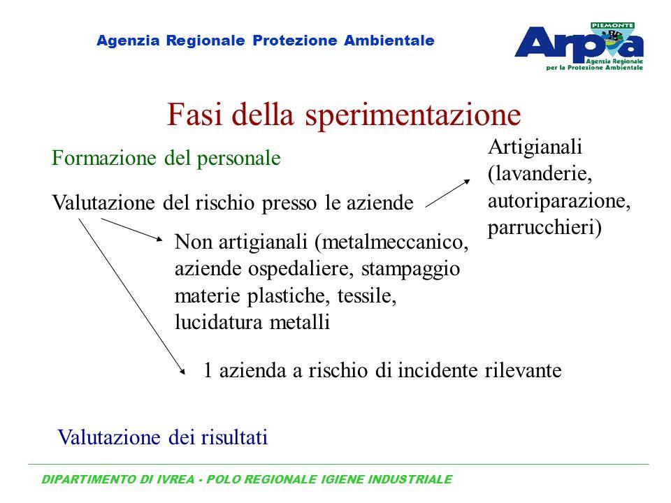 Fasi della sperimentazione Formazione del personale Valutazione del rischio presso le aziende Valutazione dei risultati Artigianali (lavanderie, autor