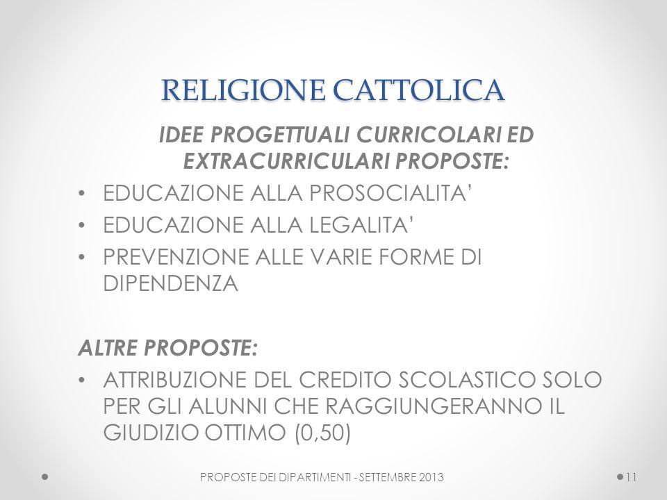 RELIGIONE CATTOLICA IDEE PROGETTUALI CURRICOLARI ED EXTRACURRICULARI PROPOSTE: EDUCAZIONE ALLA PROSOCIALITA EDUCAZIONE ALLA LEGALITA PREVENZIONE ALLE