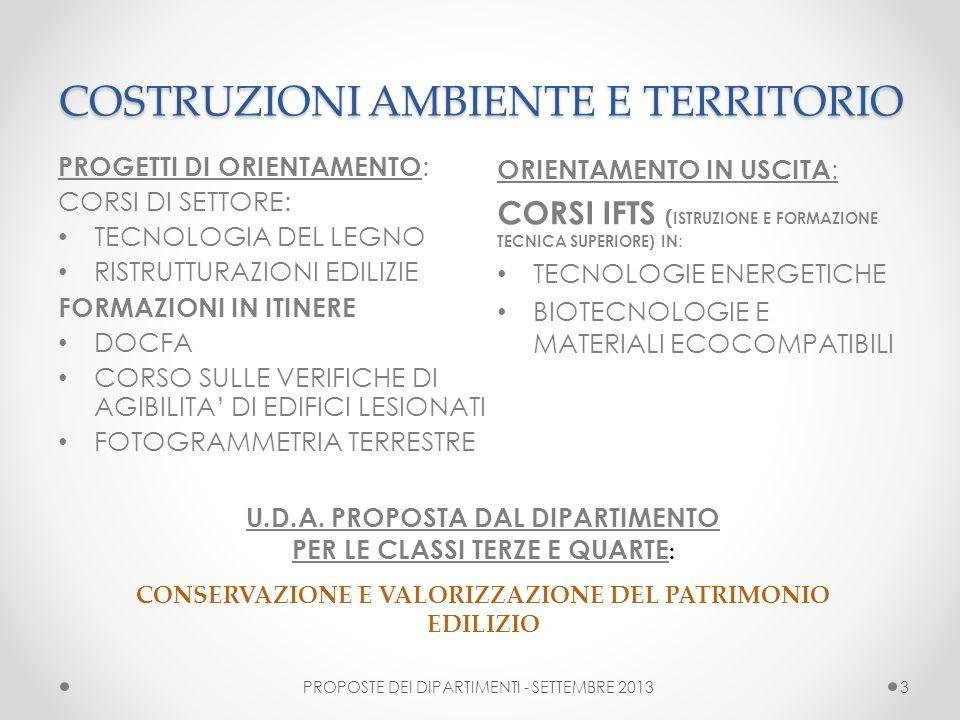 COSTRUZIONI AMBIENTE E TERRITORIO COSTRUZIONI AMBIENTE E TERRITORIO PROPOSTE DEI DIPARTIMENTI - SETTEMBRE 20133 PROGETTI DI ORIENTAMENTO : CORSI DI SE