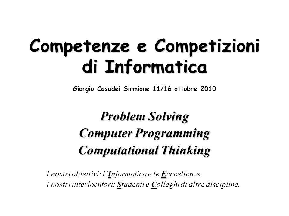 A e B) Competenze e Competizioni di Informatica Giorgio Casadei Sirmione 11/16 ottobre 2010 Sia dato il seguente grafo stradale a(n1,n2,2).a(n2,n3,5).a(n3,n4,3).a(n4,n8,4) a(n5,n6,2).a(n6,n8,3).a(n1,n7,8).a(n8,n7,6) a(n5,n1,1).a(n2,n5,9).a(n3,n6,7).a(n5,n7,4).