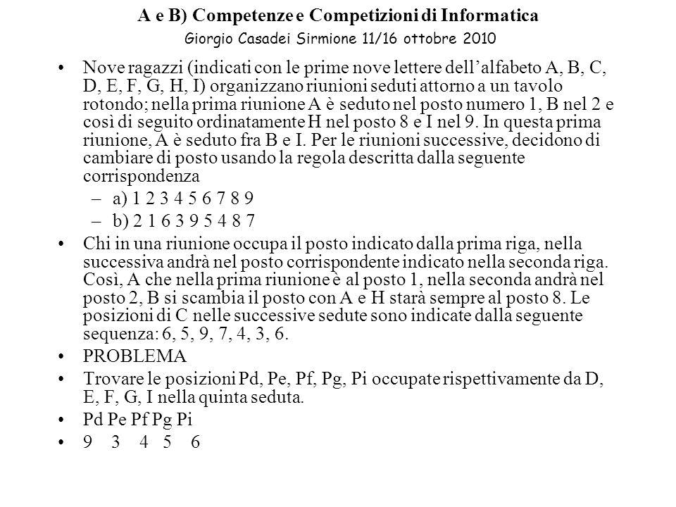 A e B) Competenze e Competizioni di Informatica Giorgio Casadei Sirmione 11/16 ottobre 2010 Nove ragazzi (indicati con le prime nove lettere dellalfabeto A, B, C, D, E, F, G, H, I) organizzano riunioni seduti attorno a un tavolo rotondo; nella prima riunione A è seduto nel posto numero 1, B nel 2 e così di seguito ordinatamente H nel posto 8 e I nel 9.