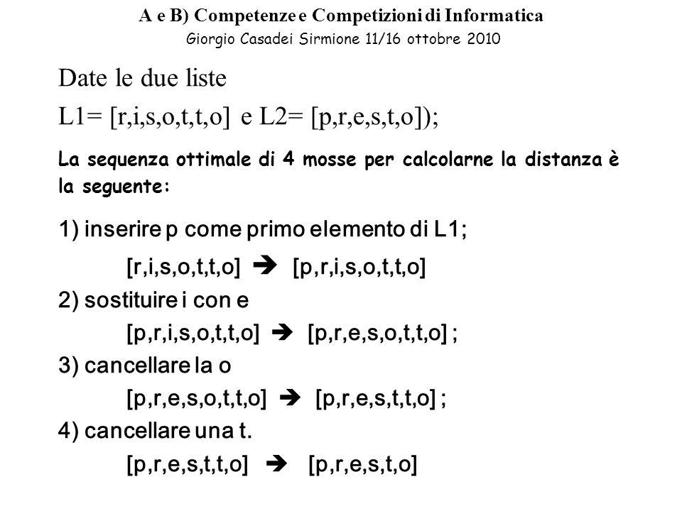 A e B) Competenze e Competizioni di Informatica Giorgio Casadei Sirmione 11/16 ottobre 2010 Date le due liste L1= [r,i,s,o,t,t,o] e L2= [p,r,e,s,t,o]); La sequenza ottimale di 4 mosse per calcolarne la distanza è la seguente: 1) inserire p come primo elemento di L1; [r,i,s,o,t,t,o] [p,r,i,s,o,t,t,o] 2) sostituire i con e [p,r,i,s,o,t,t,o] [p,r,e,s,o,t,t,o] ; 3) cancellare la o [p,r,e,s,o,t,t,o] [p,r,e,s,t,t,o] ; 4) cancellare una t.