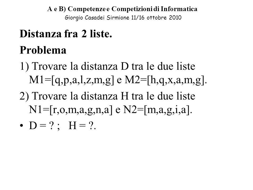 A e B) Competenze e Competizioni di Informatica Giorgio Casadei Sirmione 11/16 ottobre 2010 Distanza fra 2 liste.