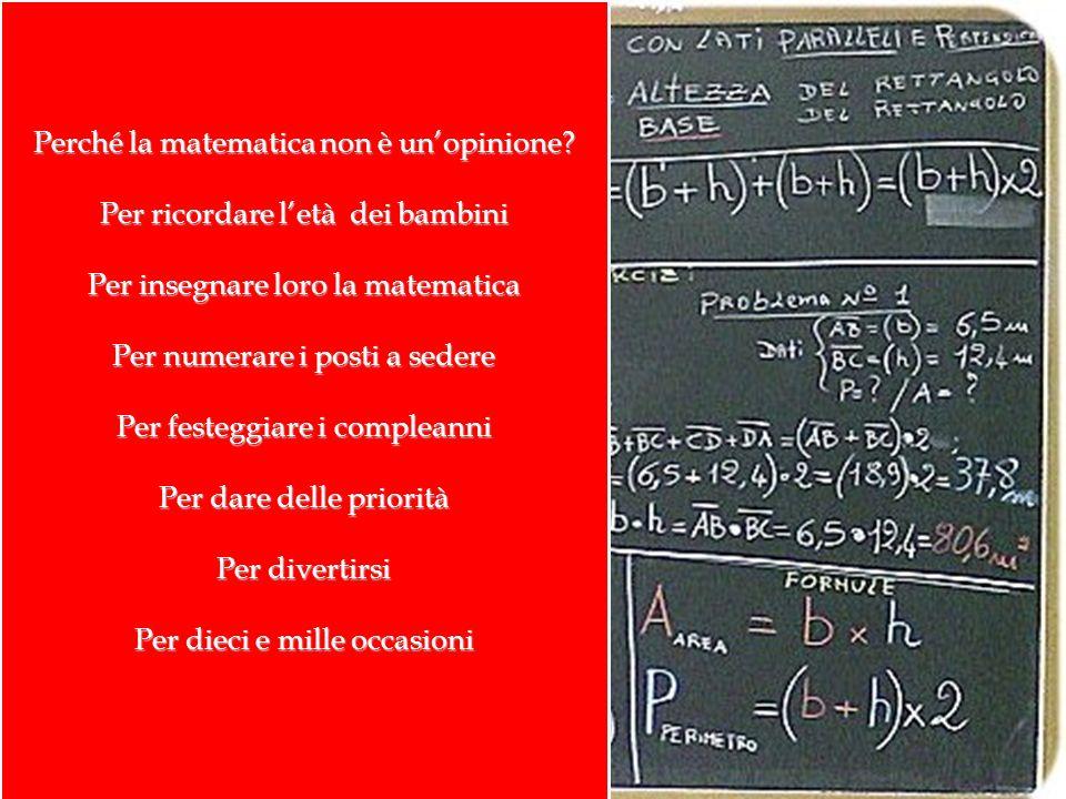 Perché la matematica non è unopinione? Per ricordare letà dei bambini Per insegnare loro la matematica Per numerare i posti a sedere Per festeggiare i