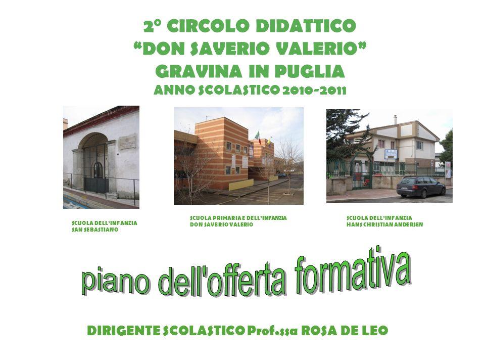 2° CIRCOLO DIDATTICO DON SAVERIO VALERIO GRAVINA IN PUGLIA ANNO SCOLASTICO 2010-2011 SCUOLA DELLINFANZIA SAN SEBASTIANO SCUOLA PRIMARIA E DELLINFANZIA