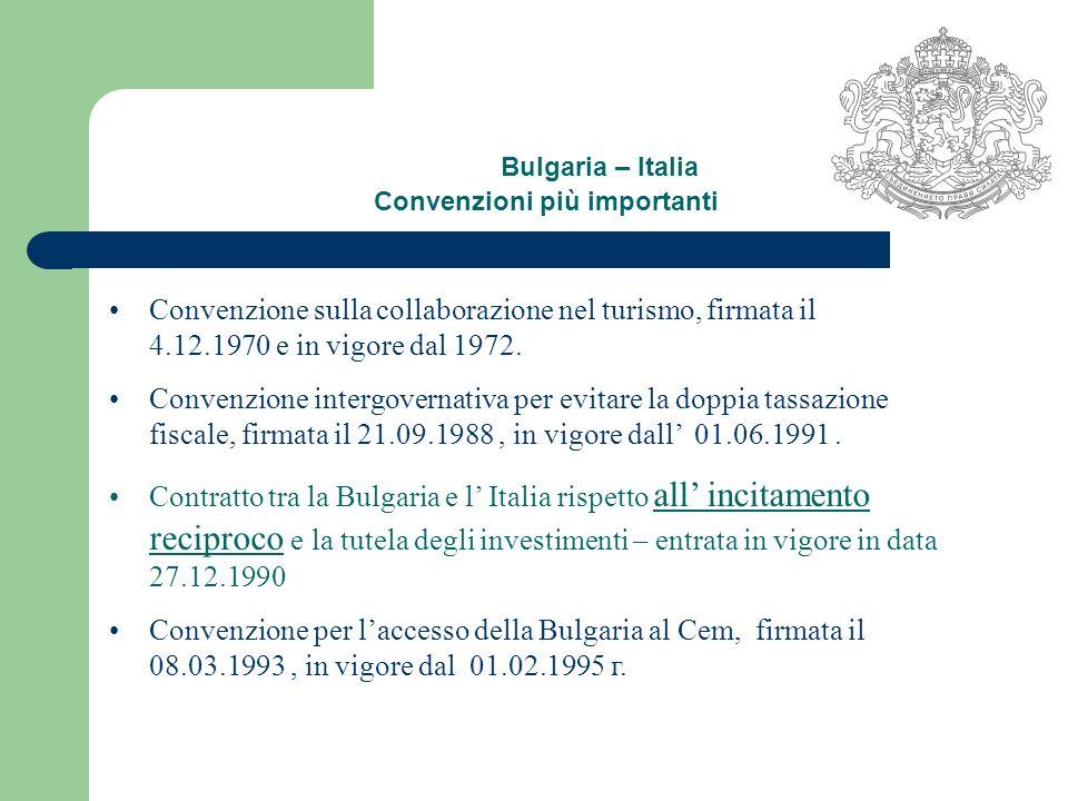 Bulgaria – Italia Convenzioni più importanti Convenzione sulla collaborazione nel turismo, firmata il 4.12.1970 e in vigore dal 1972.