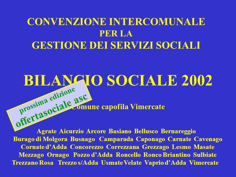BILANCIO SOCIALE 2002 Comune capofila Vimercate CONVENZIONE INTERCOMUNALE PER LA GESTIONE DEI SERVIZI SOCIALI Agrate Aicurzio Arcore Basiano Bellusco