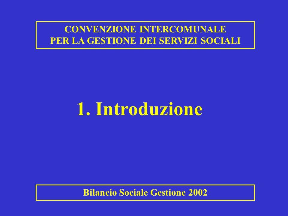 1. Introduzione CONVENZIONE INTERCOMUNALE PER LA GESTIONE DEI SERVIZI SOCIALI Bilancio Sociale Gestione 2002