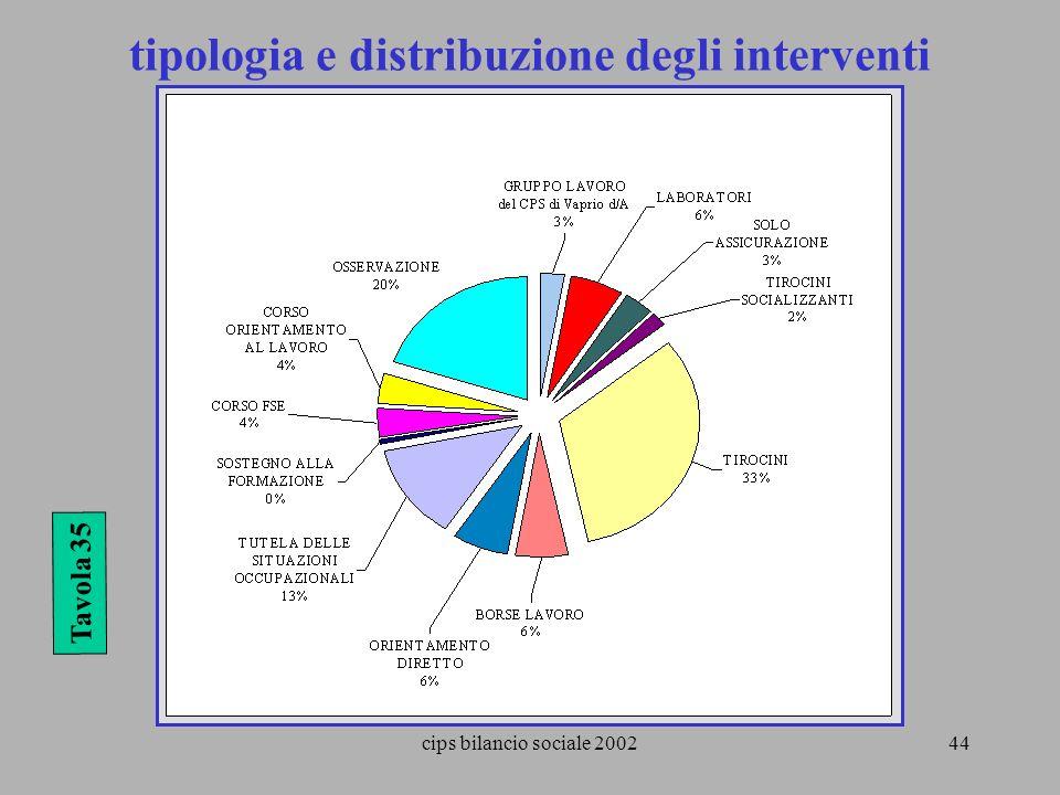 cips bilancio sociale 200244 Tavola 35 tipologia e distribuzione degli interventi