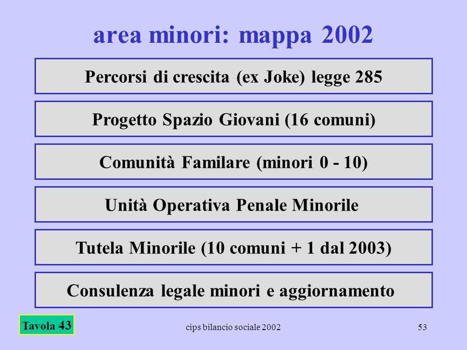 cips bilancio sociale 200253 area minori: mappa 2002 Tavola 43 Percorsi di crescita (ex Joke) legge 285 Progetto Spazio Giovani (16 comuni) Comunità F