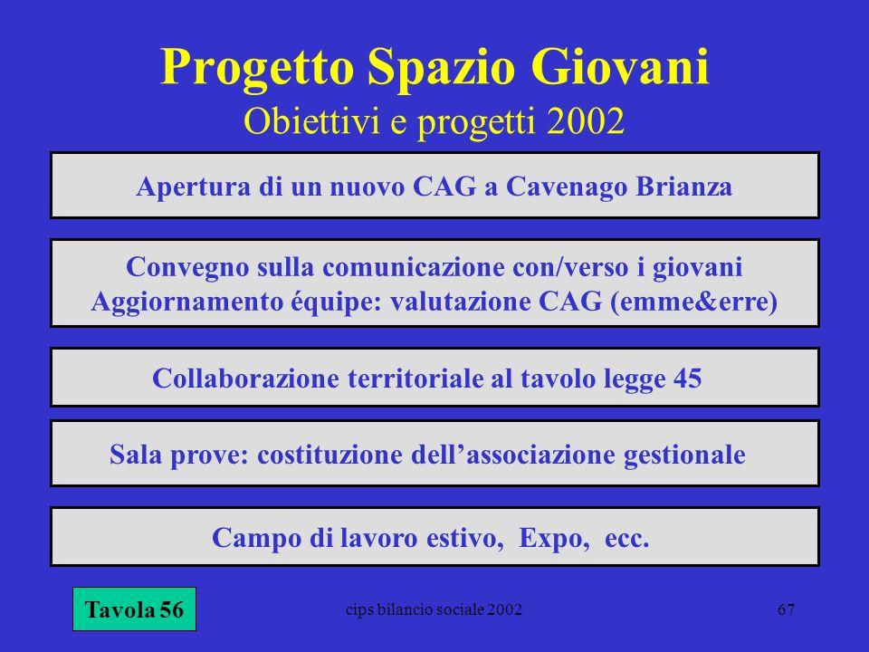 cips bilancio sociale 200267 Progetto Spazio Giovani Obiettivi e progetti 2002 Tavola 56 Apertura di un nuovo CAG a Cavenago Brianza Convegno sulla co