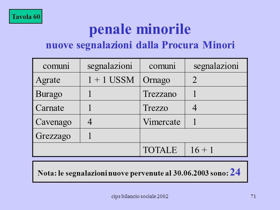 cips bilancio sociale 200271 penale minorile Tavola 60 nuove segnalazioni dalla Procura Minori comunisegnalazionicomunisegnalazioni Agrate 1 + 1 USSMO