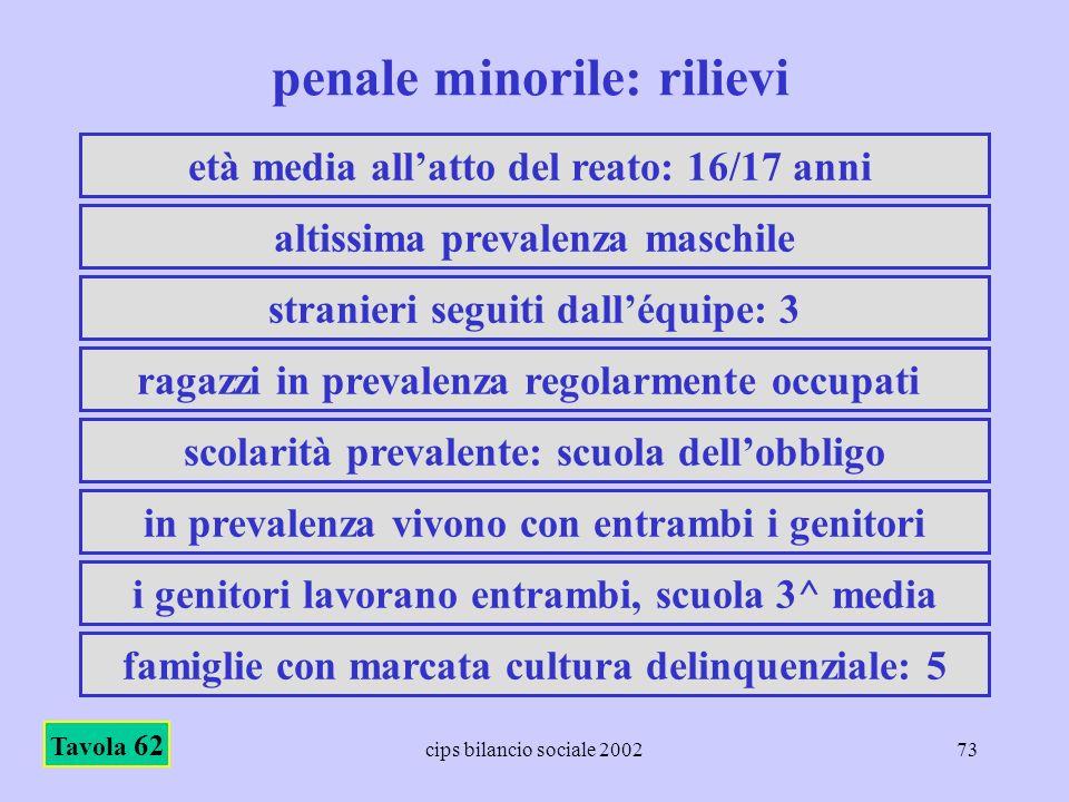 cips bilancio sociale 200273 penale minorile: rilievi Tavola 62 età media allatto del reato: 16/17 anni altissima prevalenza maschile stranieri seguit