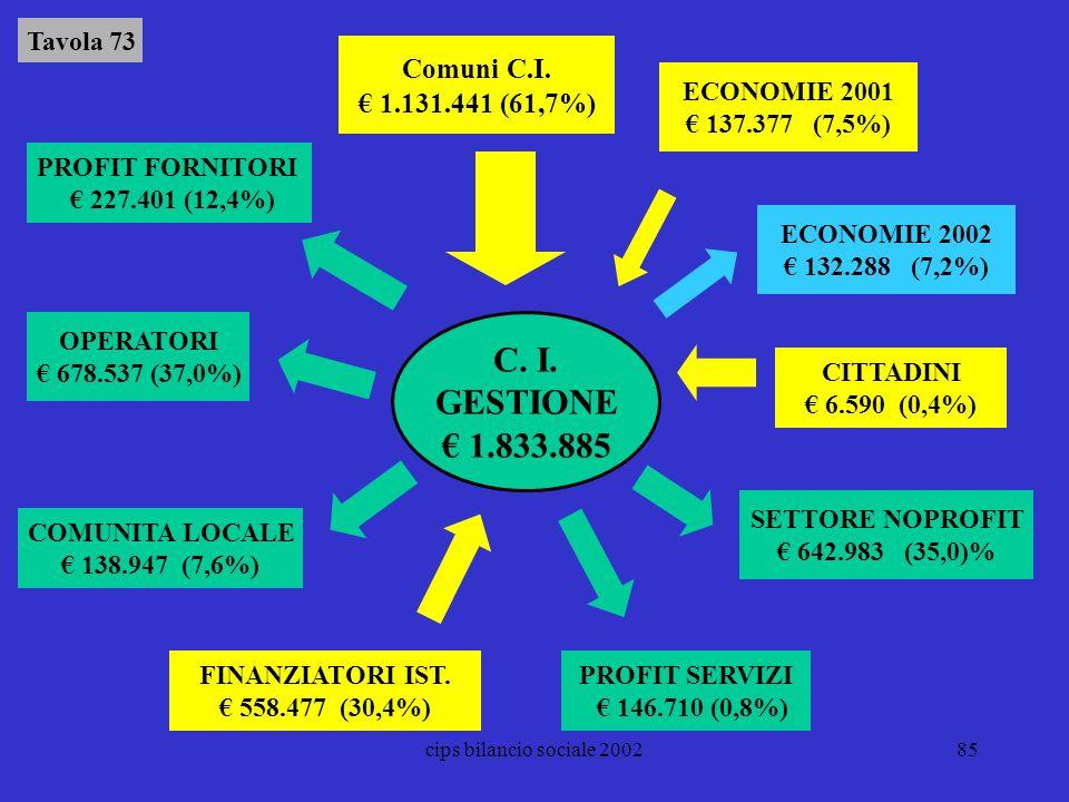 cips bilancio sociale 200285 COMUNITA LOCALE 138.947 (7,6%) OPERATORI 678.537 (37,0%) PROFIT FORNITORI 227.401 (12,4%) FINANZIATORI IST. 558.477 (30,4