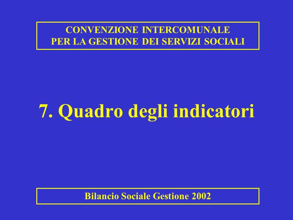 7. Quadro degli indicatori CONVENZIONE INTERCOMUNALE PER LA GESTIONE DEI SERVIZI SOCIALI Bilancio Sociale Gestione 2002