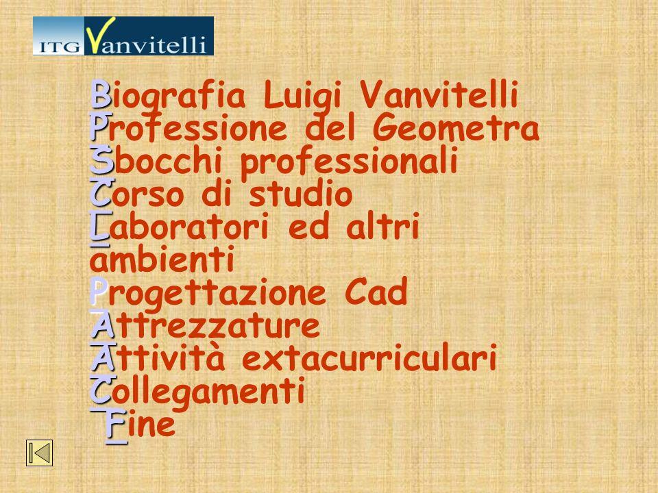 B P S C L P A C F BB P S C L P A A C F Biografia Luigi Vanvitelli Professione del Geometra Sbocchi professionali Corso di studio Laboratori ed altri a