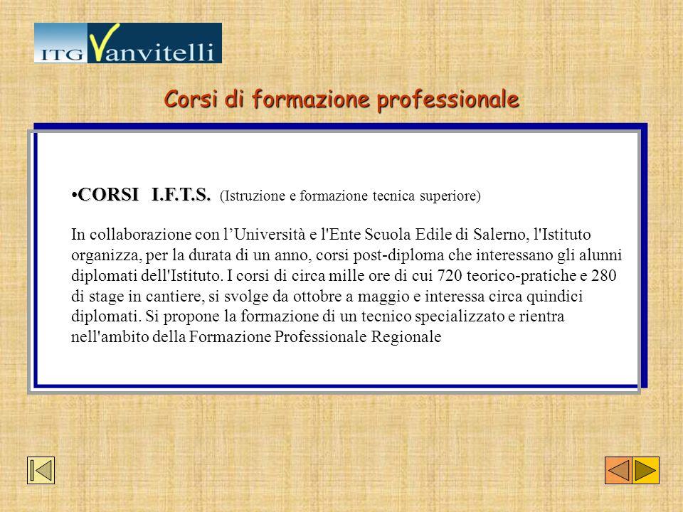 Corsi di formazione professionale CORSI I.F.T.S.CORSI I.F.T.S. (Istruzione e formazione tecnica superiore) In collaborazione con lUniversità e l'Ente