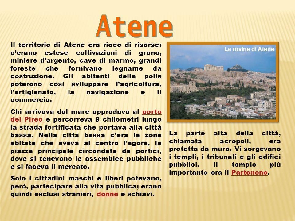 Il territorio di Atene era ricco di risorse: cerano estese coltivazioni di grano, miniere dargento, cave di marmo, grandi foreste che fornivano legnam