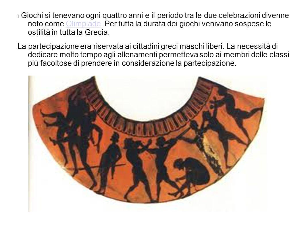 I Giochi si tenevano ogni quattro anni e il periodo tra le due celebrazioni divenne noto come Olimpiade. Per tutta la durata dei giochi venivano sospe