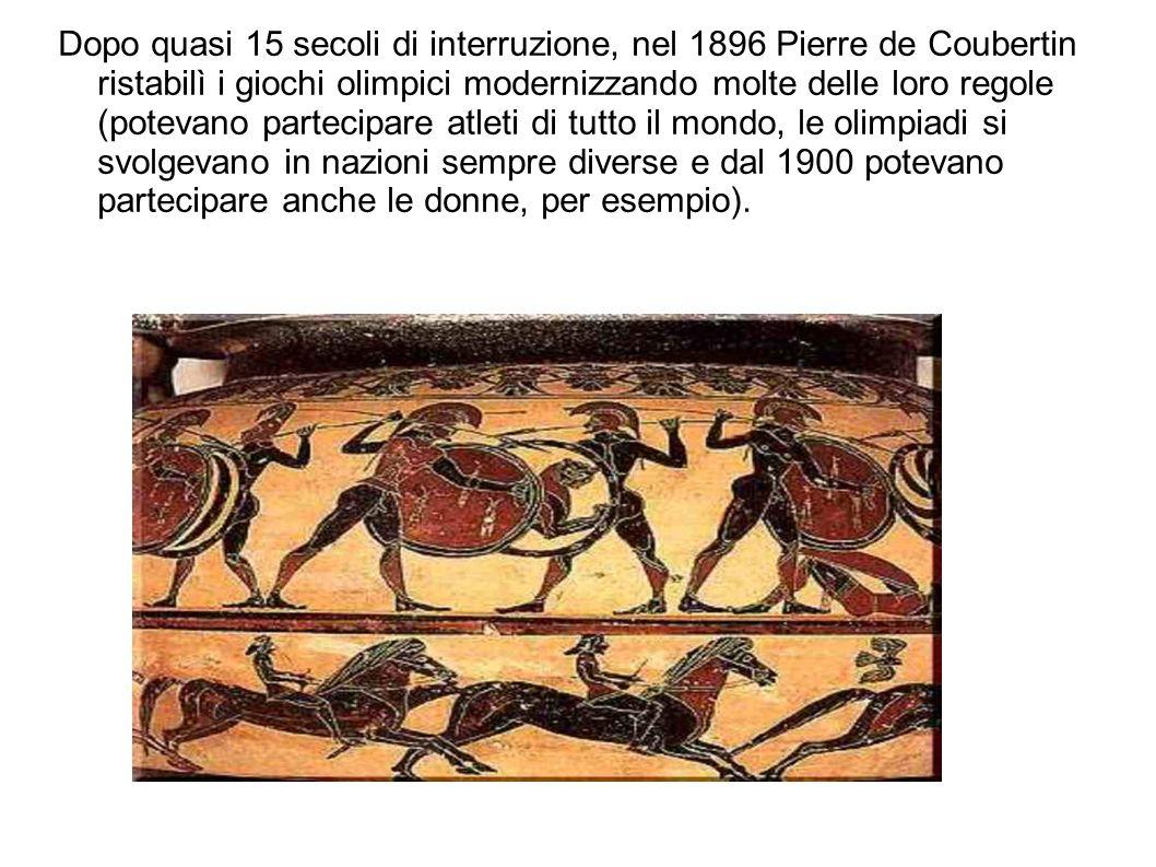 Dopo quasi 15 secoli di interruzione, nel 1896 Pierre de Coubertin ristabilì i giochi olimpici modernizzando molte delle loro regole (potevano parteci