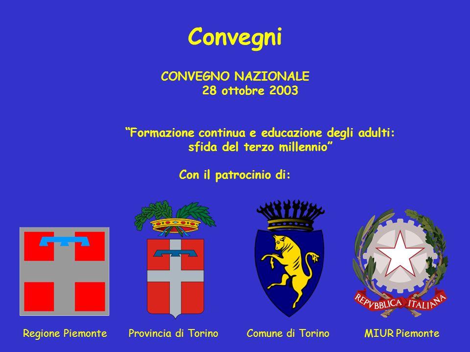 Convegni CONVEGNO NAZIONALE 28 ottobre 2003 Formazione continua e educazione degli adulti: sfida del terzo millennio Con il patrocinio di: Regione Pie