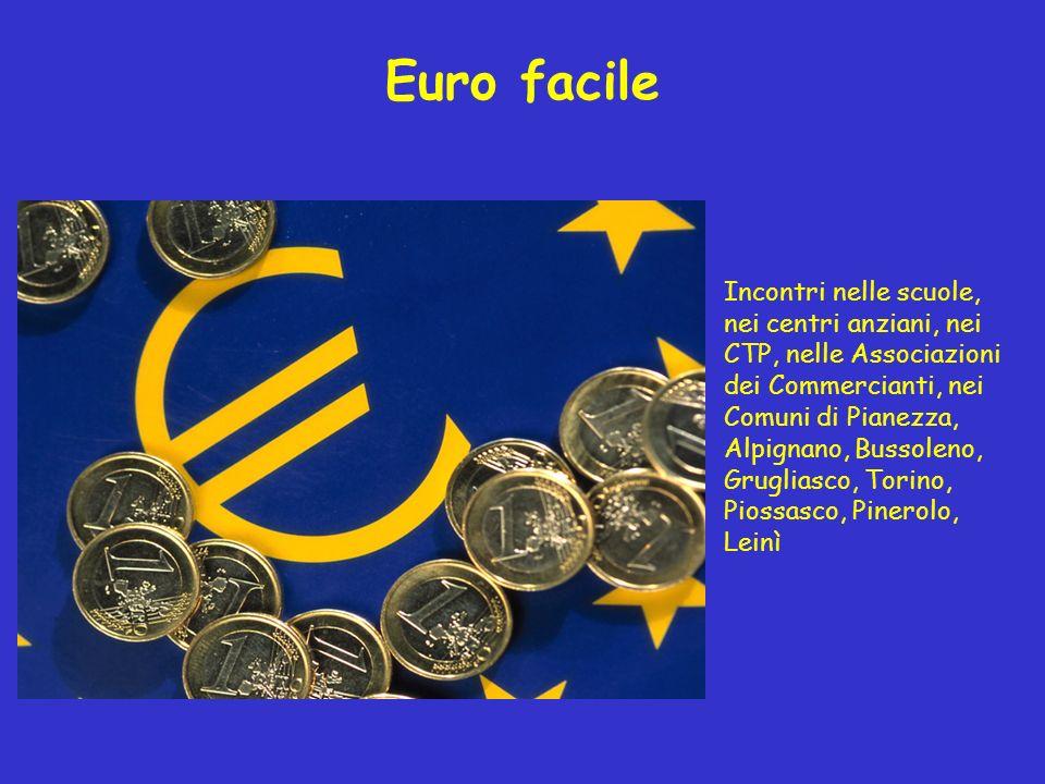 Euro facile Incontri nelle scuole, nei centri anziani, nei CTP, nelle Associazioni dei Commercianti, nei Comuni di Pianezza, Alpignano, Bussoleno, Gru