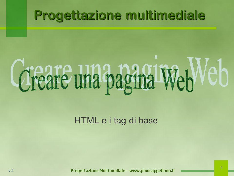 v.1 Progettazione Multimediale – www.pinocappellano.it 1 Progettazione multimediale HTML e i tag di base