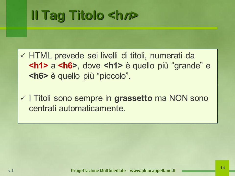 v.1 Progettazione Multimediale – www.pinocappellano.it 14 Il Tag Titolo Il Tag Titolo HTML prevede sei livelli di titoli, numerati da a, dove è quello più grande e è quello più piccolo.