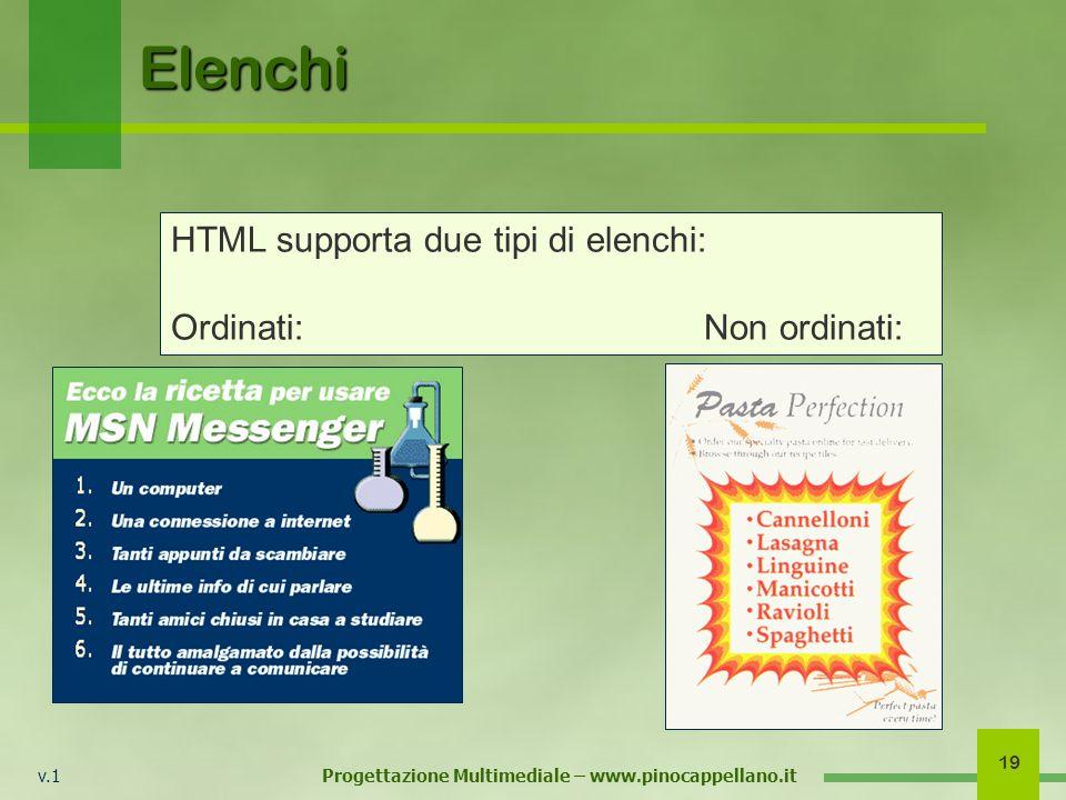 v.1 Progettazione Multimediale – www.pinocappellano.it 19 Elenchi HTML supporta due tipi di elenchi: Ordinati:Non ordinati: