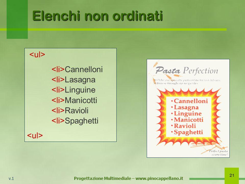 v.1 Progettazione Multimediale – www.pinocappellano.it 21 Elenchi non ordinati Cannelloni Lasagna Linguine Manicotti Ravioli Spaghetti