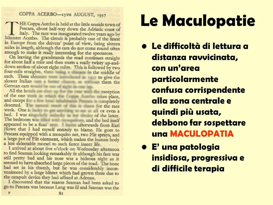 Le Maculopatie Le difficoltà di lettura a distanza ravvicinata, con unarea particolarmente confusa corrispendente alla zona centrale e quindi più usat
