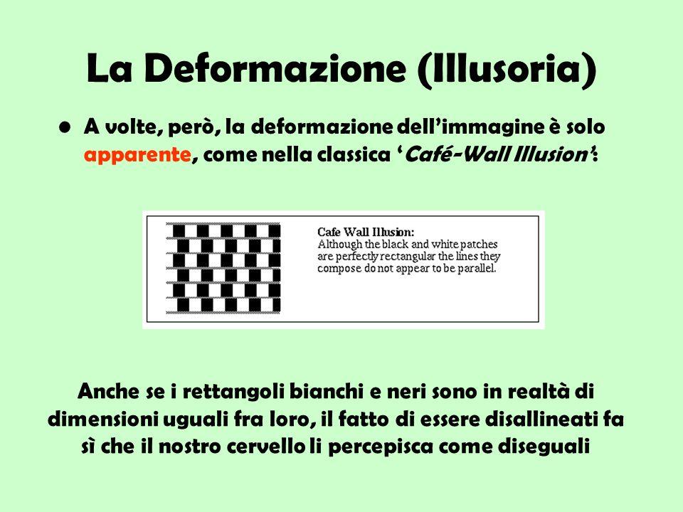 La Deformazione (Illusoria) A volte, però, la deformazione dellimmagine è solo apparente, come nella classica Café-Wall Illusion: Anche se i rettangol