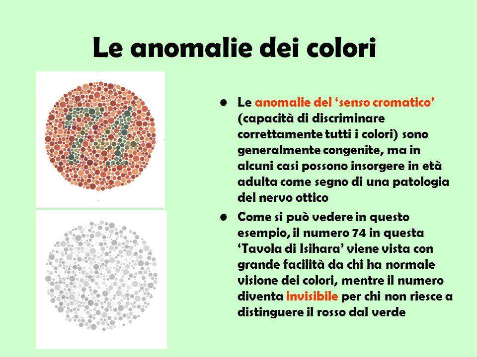 Le anomalie dei colori Le anomalie del senso cromatico (capacità di discriminare correttamente tutti i colori) sono generalmente congenite, ma in alcu