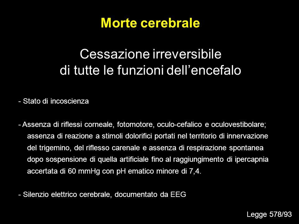 Cessazione irreversibile di tutte le funzioni dellencefalo Morte cerebrale - Stato di incoscienza - Assenza di riflessi corneale, fotomotore, oculo-ce
