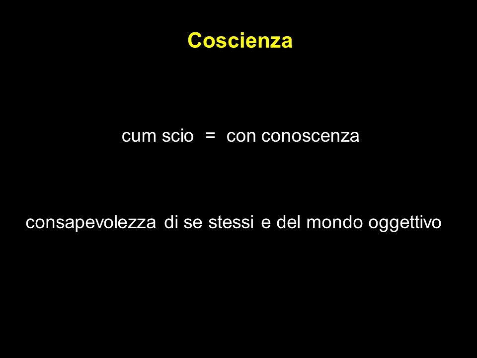Coscienza cum scio = con conoscenza consapevolezza di se stessi e del mondo oggettivo