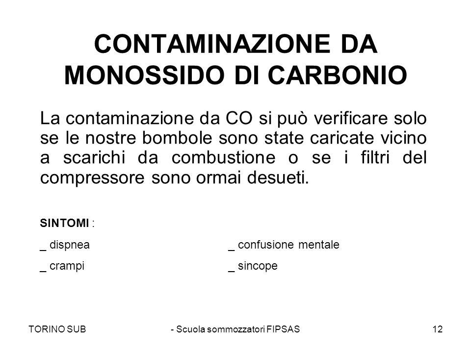 TORINO SUB- Scuola sommozzatori FIPSAS12 CONTAMINAZIONE DA MONOSSIDO DI CARBONIO La contaminazione da CO si può verificare solo se le nostre bombole s