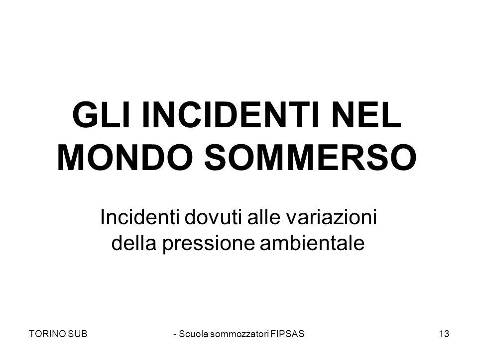 GLI INCIDENTI NEL MONDO SOMMERSO Incidenti dovuti alle variazioni della pressione ambientale TORINO SUB- Scuola sommozzatori FIPSAS13