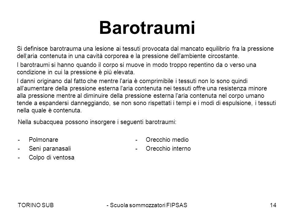 Barotraumi Nella subacquea possono insorgere i seguenti barotraumi: -Polmonare- Orecchio medio -Seni paranasali- Orecchio interno -Colpo di ventosa Si