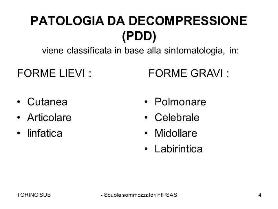 TORINO SUB- Scuola sommozzatori FIPSAS4 PATOLOGIA DA DECOMPRESSIONE (PDD) viene classificata in base alla sintomatologia, in: Cutanea Articolare linfa